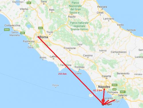 Qual a distância de Capri