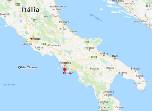 Onde é Capri no mapa da Itália