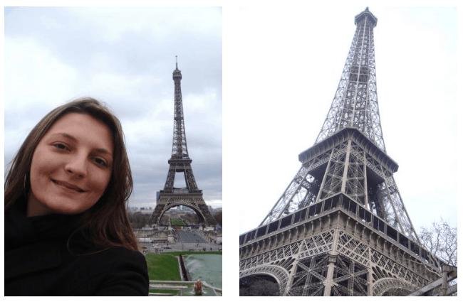 Turista tirando foto com a Torre Eiffel