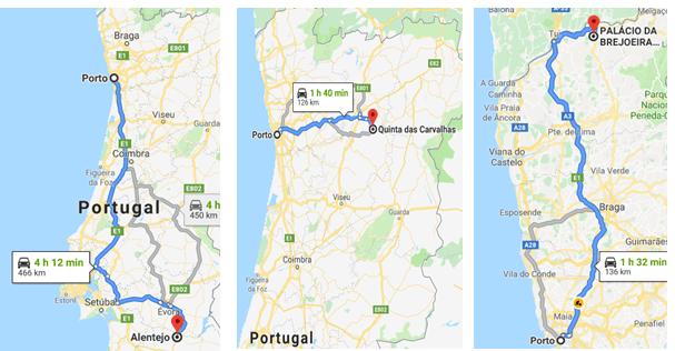 distância do Porto às vinícolas