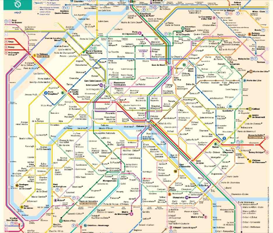 mapa do metrô de Paris