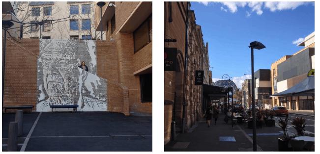 Arte de rua e movimento no The Rocks, em Sydney