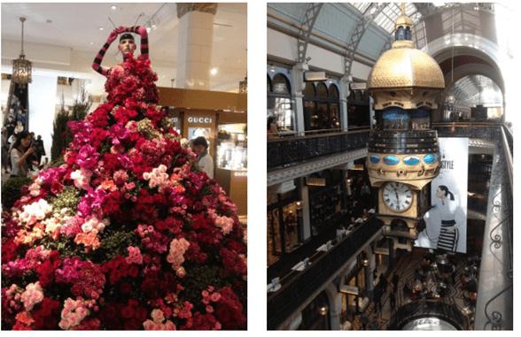 Manequim com flores e relógio em shopping