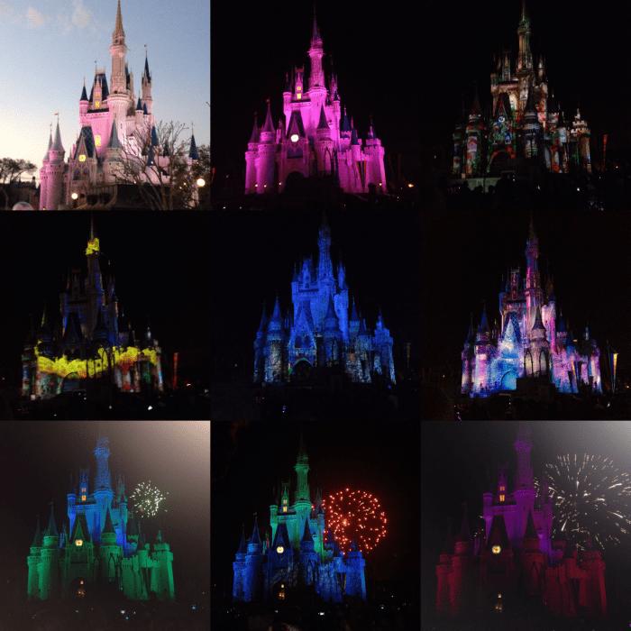 Castelo da Cinderela com cores diversas