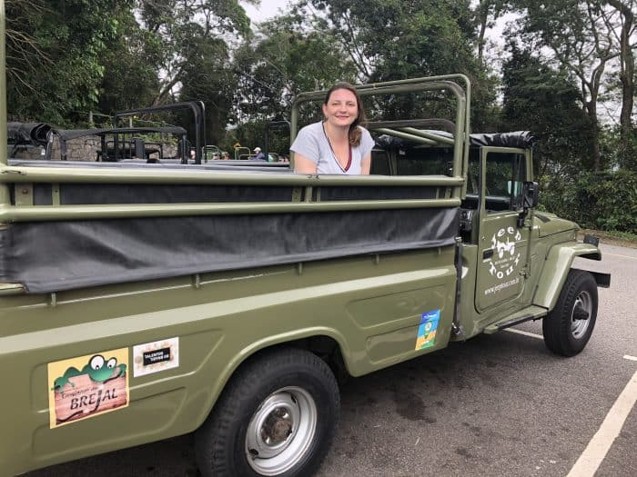 turista dentro do jeep, com floresta ao fundo