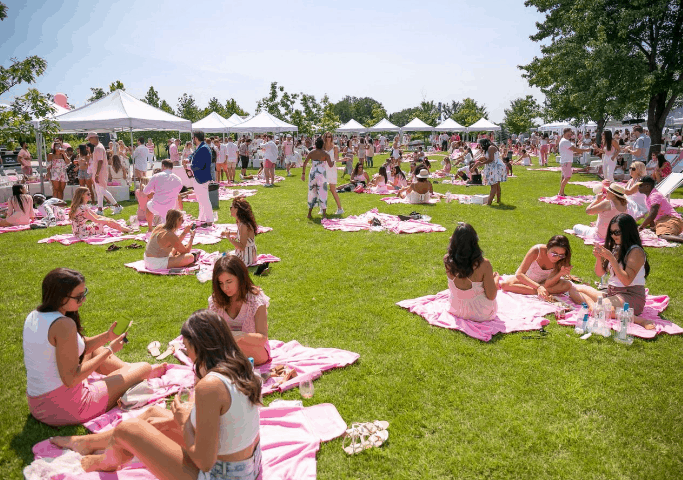 mulheres vestidas de rosa, sentadas em um gramado