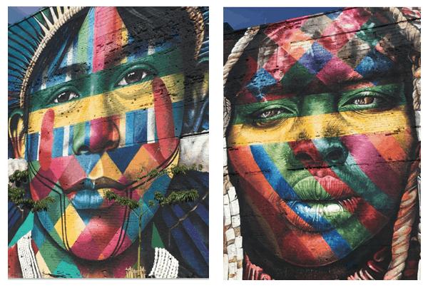 artes de rua com faces coloridas