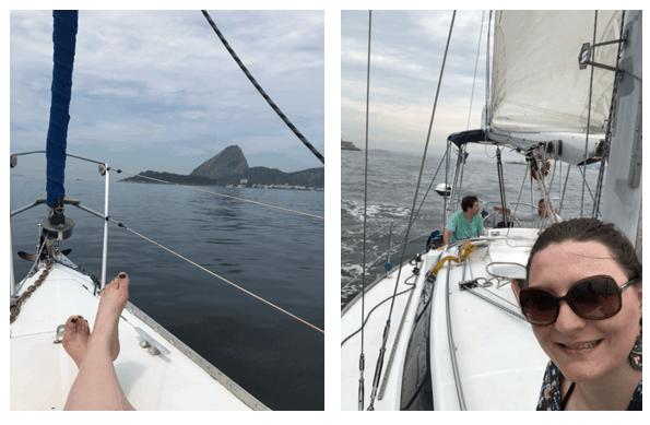 Montanha e vista do veleiro no Rio de Janeiro