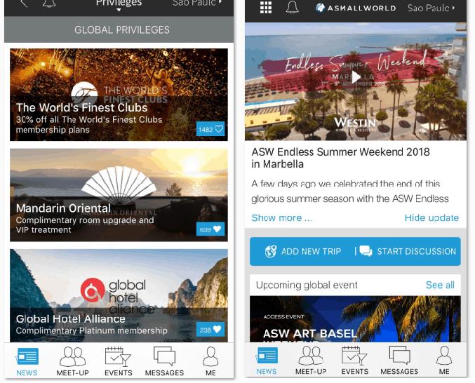 telas de app da ASW com demonstração de benefícios