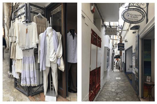 Loja de roupas e rua de comércio italiana