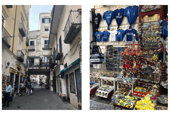 casas em rua de Amalfi e produtos diversos a venda