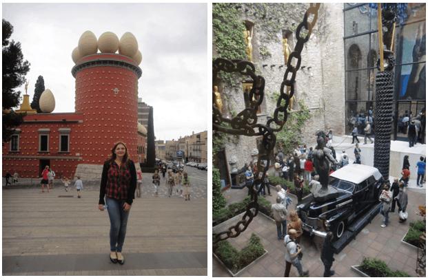 Fachada do Museu Dalí e decoração com correntes de um dos salões internos