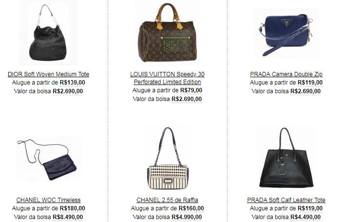 Modelos de bolsas de luxo sendo alugadas por preços populares