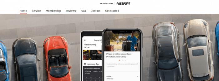 Banner com modelos de Porsche no site da Porsche Passport