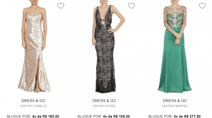 Vestidos diferentes para alugar no site da Dress & Go