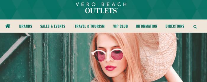 imagem da página inicial da Vero Beach Outlets
