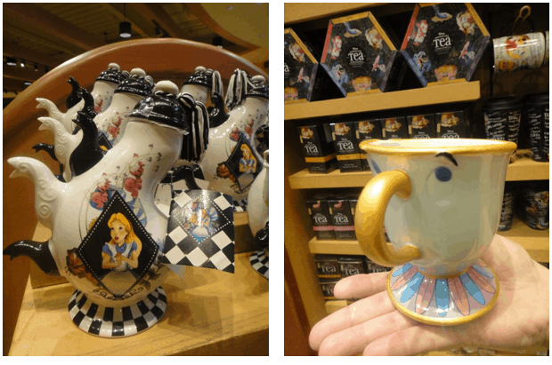 Bule e xícara de desenhos da Disney
