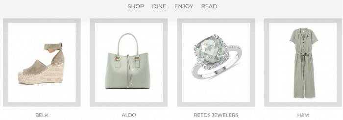 Sapato, bolsa, joia e roupa no site da Destin Commons
