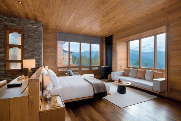 Suíte confortável com vista para as montanhas