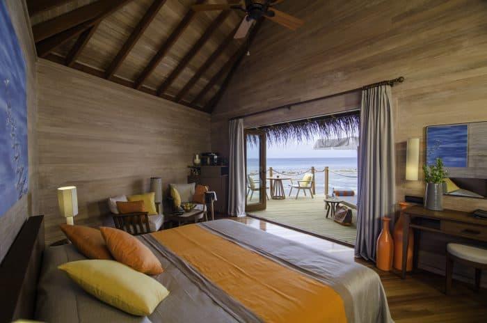Quarto confortável com vista para o mar nas Maldivas