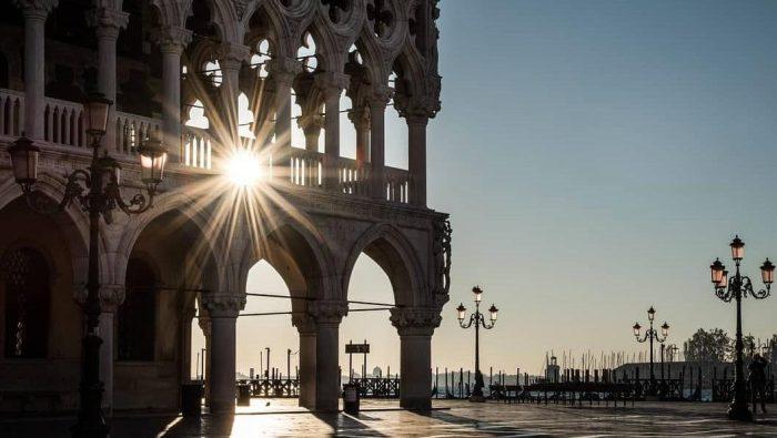 brilho do sol em Veneza