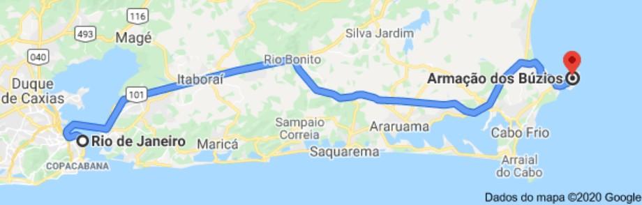 Mapa Rio de Janeiro/ Búzios