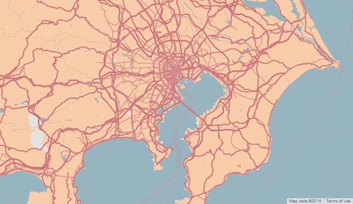 Mapa de Tóquio com estilo deserto no Snazzy Maps