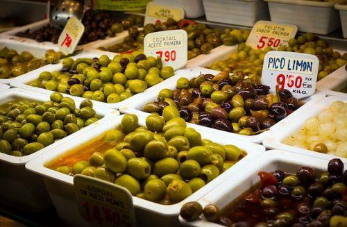 Azeitonas frescas em Barcelona