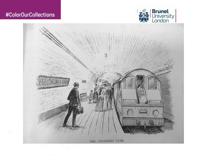 desenho para colorir de estação de metrô de Londres