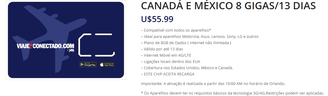 Chip Viaje Conectado Canadá e México