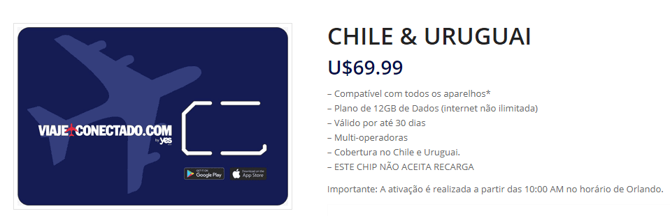 Chip Viaje Conectado Chile e Uruguai
