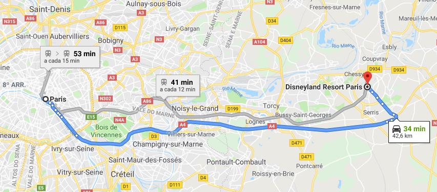 Disneyland Paris: Mapa de transporte Disneyland Paris