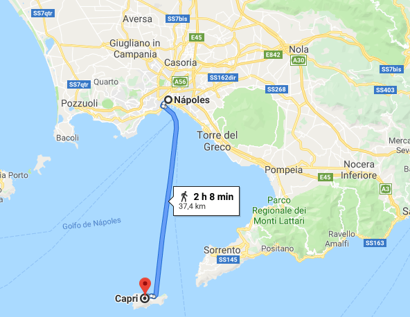 Distância de Nápoles à Capri