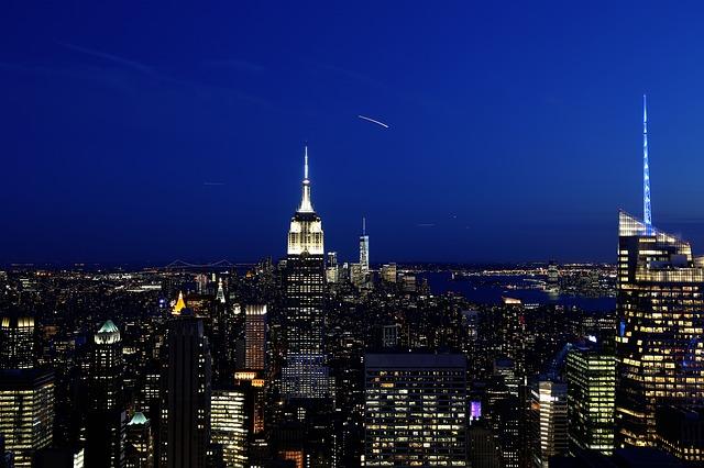 Vista de Nova York de noite