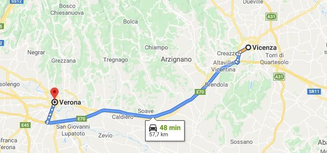 1 dia em Vicenza mapa Verona