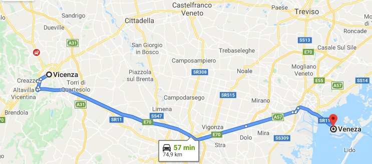 Mapa entre Vicenza e Veneza