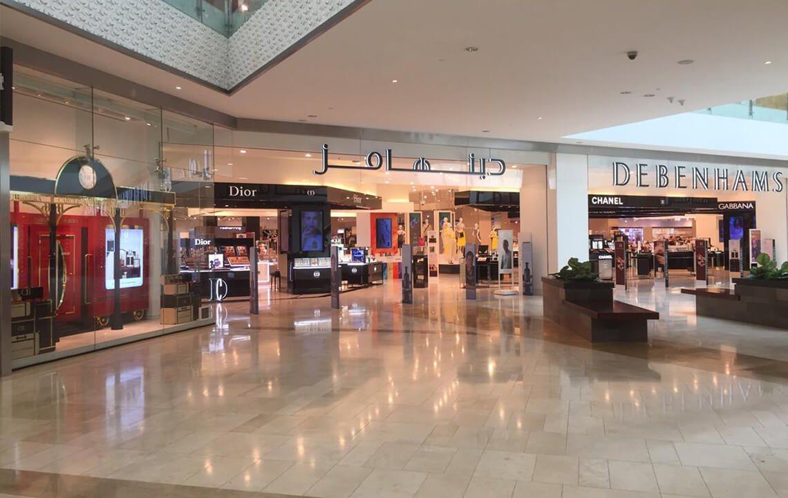 Loja com marcas de luxo no shopping Yas Mall