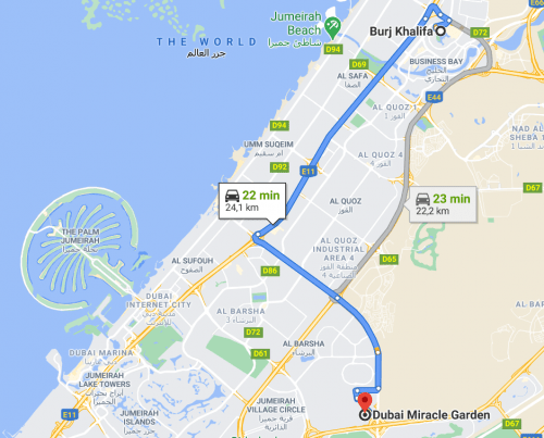 Como chegar ao Dubai Miracle Garden