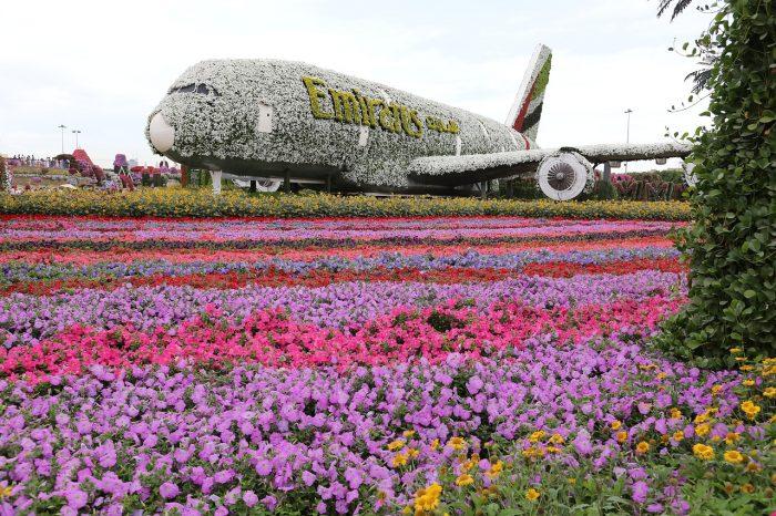 Avião A380 da Emirates no Miracle Garden