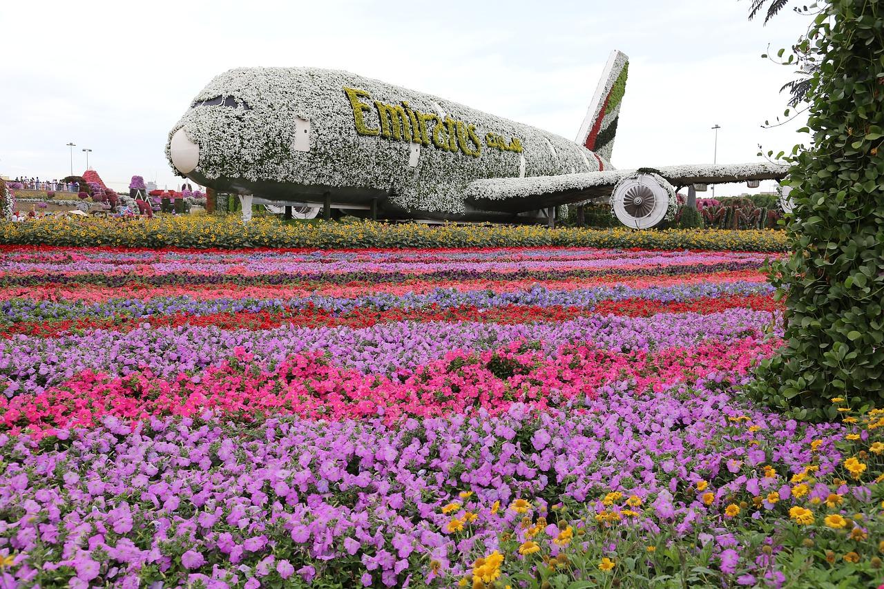Avião da Emirates em flores