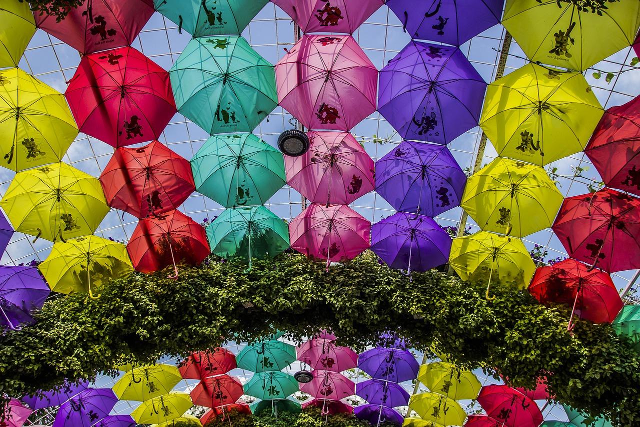 Área repleta de guarda-chuvas no Miracle Garden