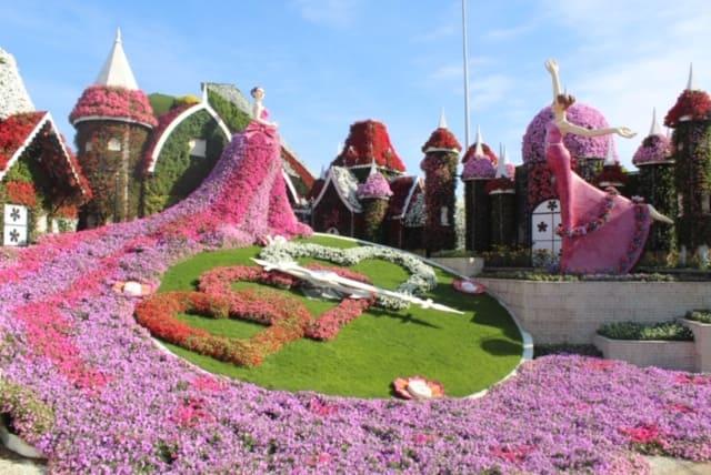 relógio de flores de Dubai