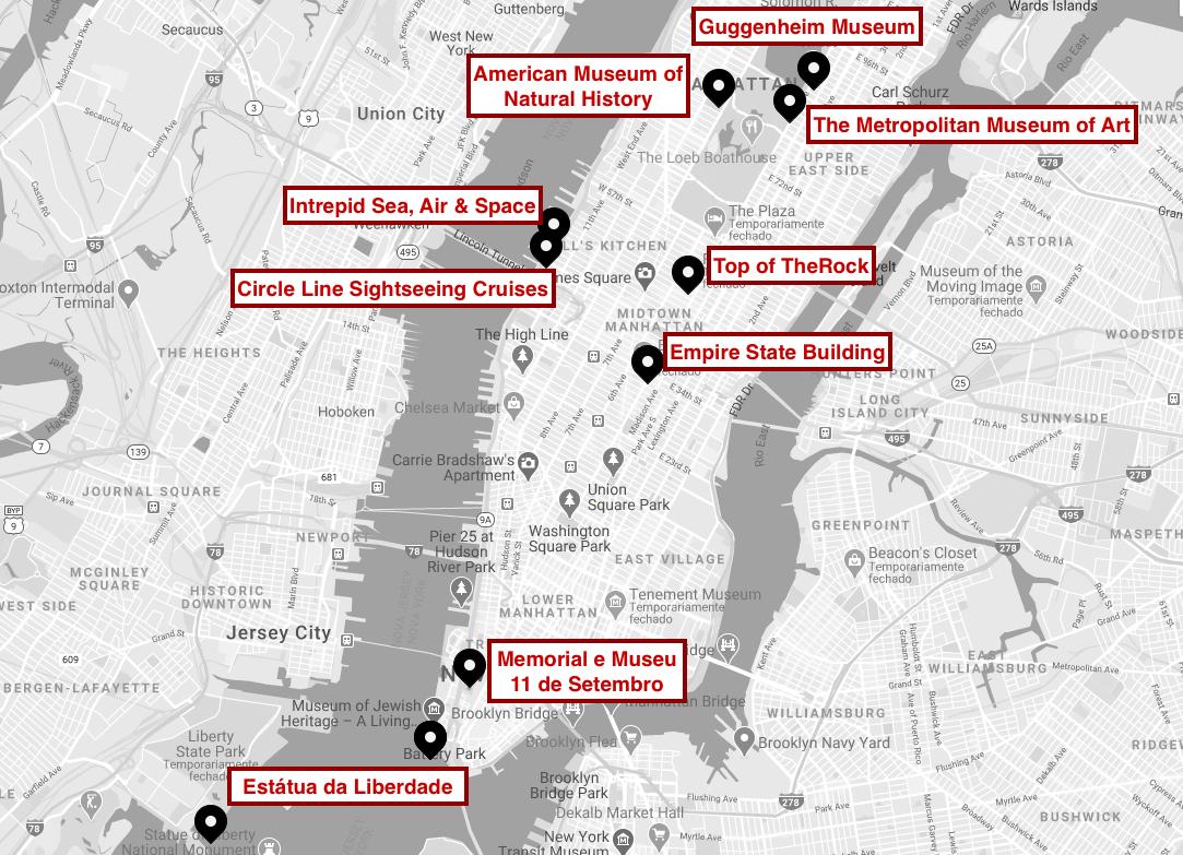 Mapa com atrações do NY CityPass