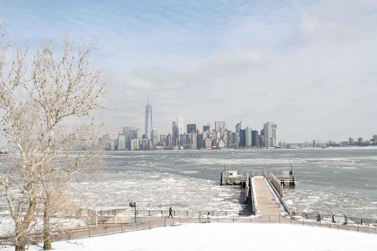 Rio Hudson durante o inverno