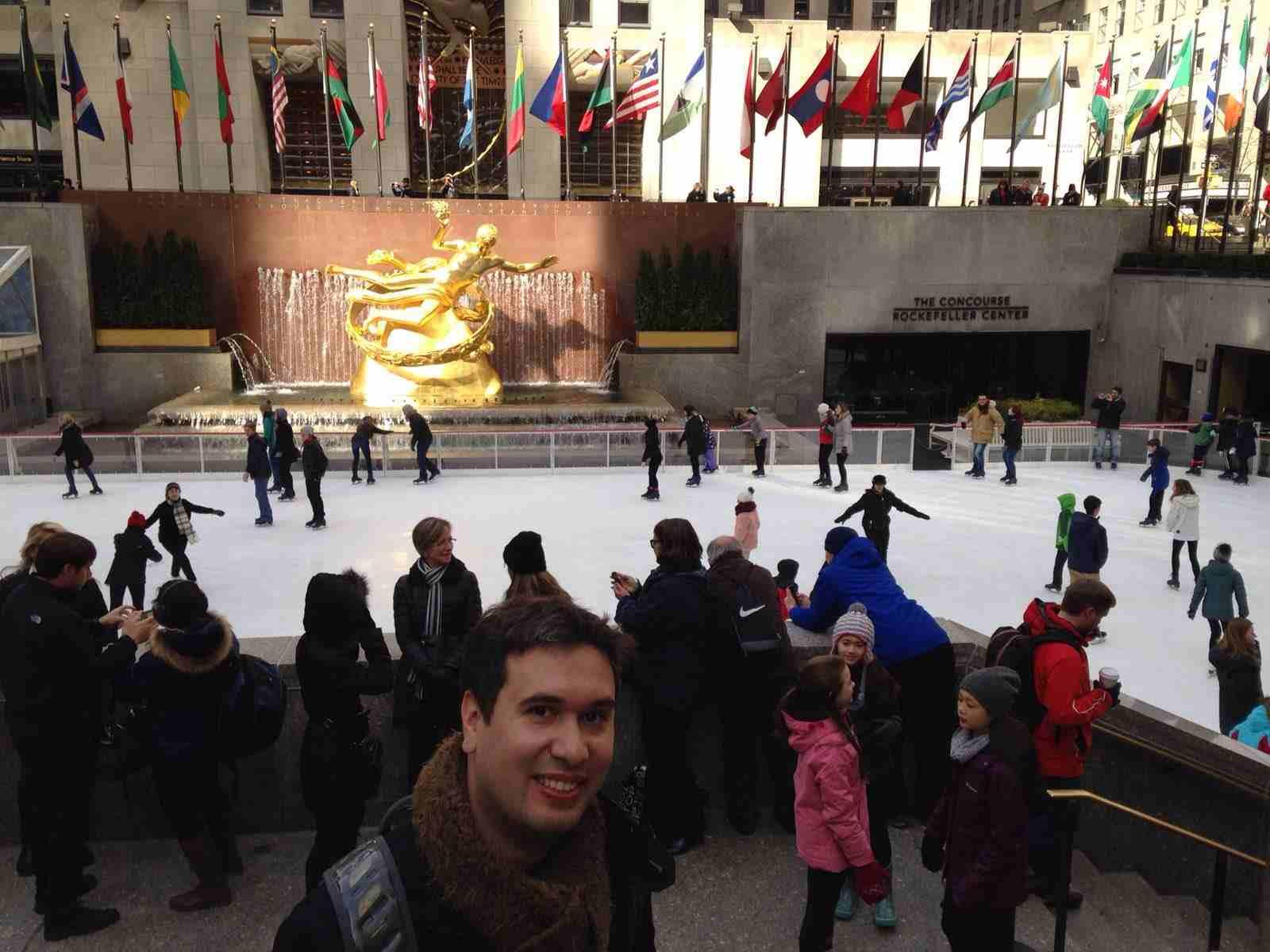 Pista de patinação no gelo, no inverno de Nova York