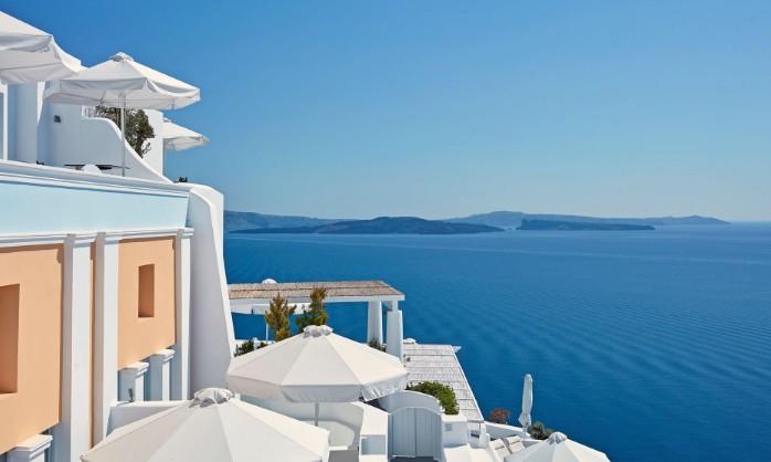 Vista do hotel Katikies, em Santorini