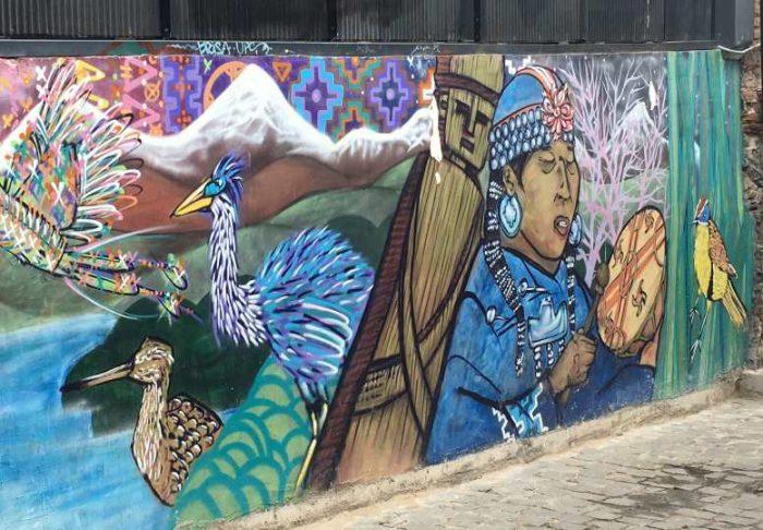 Painel de Arte em Valparaíso, nos Arredores de Santiago