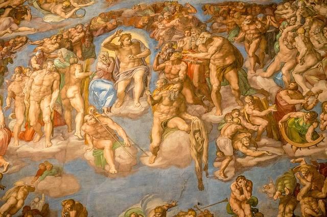 O dia do Juízo Final, pintura de Michelangelo, que está atrás do altar da Capela Sistina