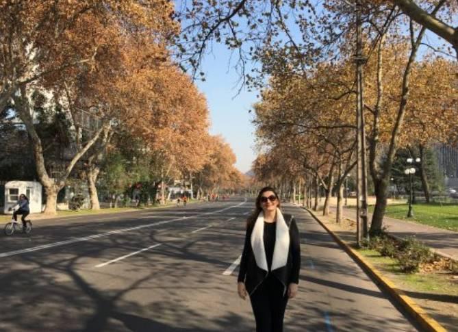 Esportistas na avenida chilena aos finais de semana