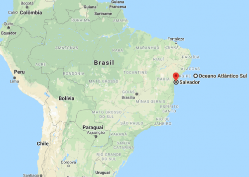 Salvador no mapa do Brasil